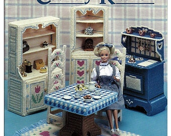 Fashion Doll Country Kitchen in Plastic Canvas for Barbie American School of Needlework 3083
