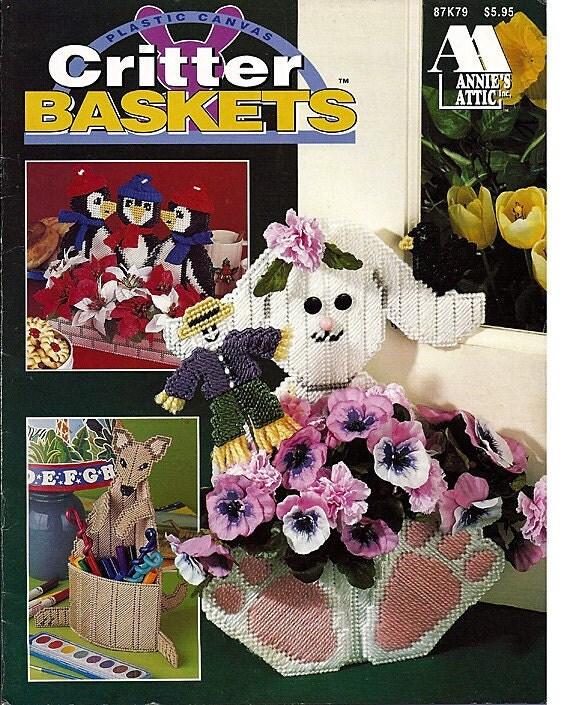 Plastic Canvas Patterns Critter Baskets Annies Attic 87k79