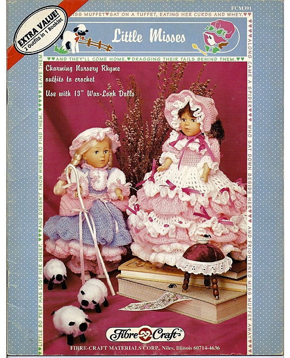 "Little Misses for 13"" Wax  look  Doll Crochet  Pattern Fibre Craft  FCM391"