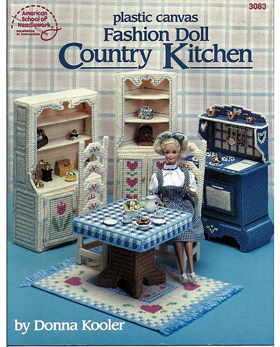 Fashion Doll Country Kitchen In Plastic Canvas For Barbie