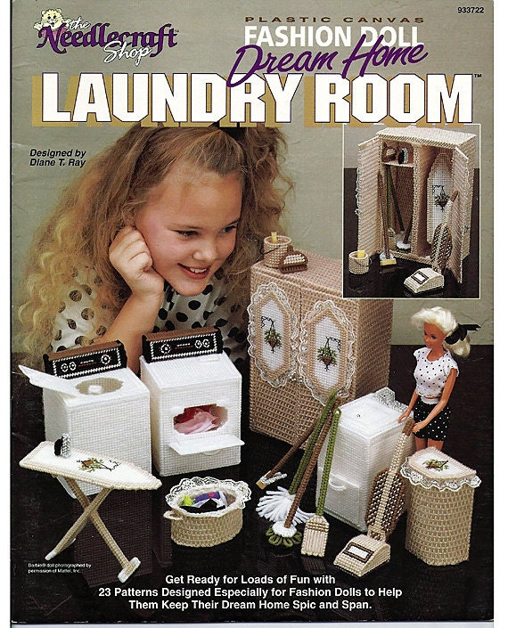 Barbie Plastic Canvas Pattern Fashion Doll Dream Home Laundry