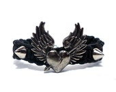 Spiked Hand Woven Bracelet - Shot Through The Heart on Black Leather - Friendship Arm Candy Party - Etsy Under 50