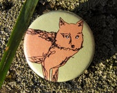 "Pinback Button ""Fox"" (1,25 inch) (Orange Fox On a Spring Green Background) Woodland Buttons For Forest Girls and Woodland Boys"
