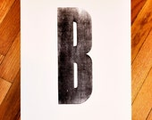 "Custom Personalized Letterpress Initial Print - 12"" by 18"""