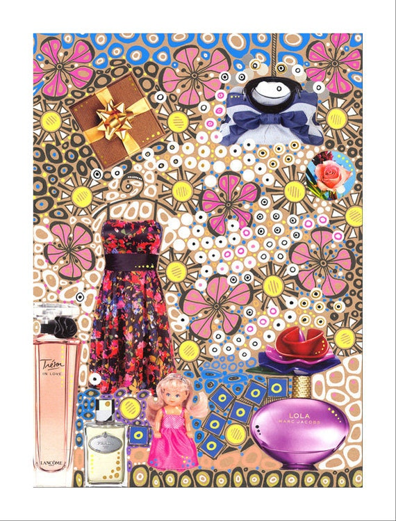 Femininity, festive mood, fashion theme,  original collage, wall decor, interior decoration, kitsch - Collage V
