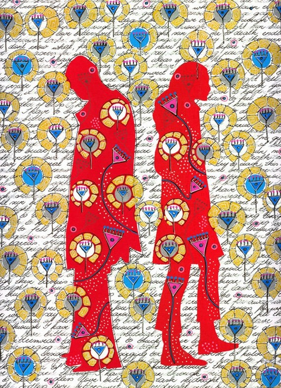 Silhouettes V - original mixed media illustration, romantic picture, wall decoration