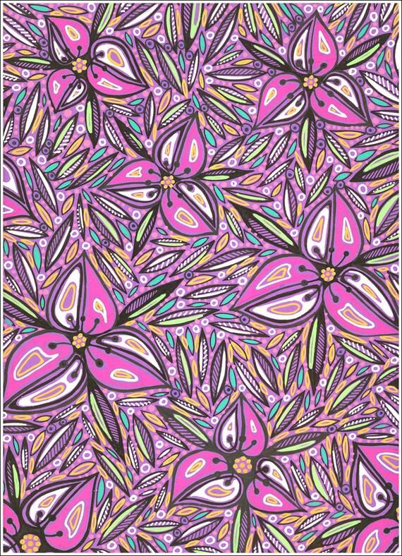 Romantic natural pink flowers stylization, interior decoration, original art drawing - Graphic art drawing XX