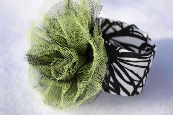 Lime green black white tulle fabric bracelet cuff corsage--Spring floral cotton ballerina rose retro Mod Prom Summer Halloween swirl citrus