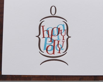 "Individual Letterpress Greeting Card - Happy Bday ""in a jar"""