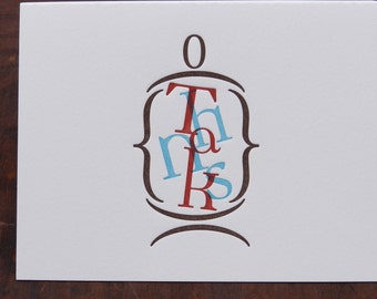 "Individual Letterpress Greeting Card - Thanks ""in a jar"""