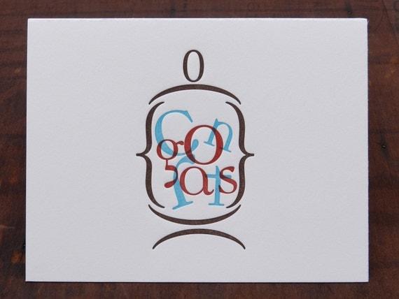 "Individual Letterpress Greeting Card - Congrats ""in a jar"""