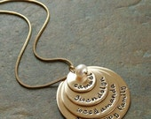 Custom Personalized Hand Stamped Mother's Gold Filled Four Layers Stacked Large Family Many Names Necklace