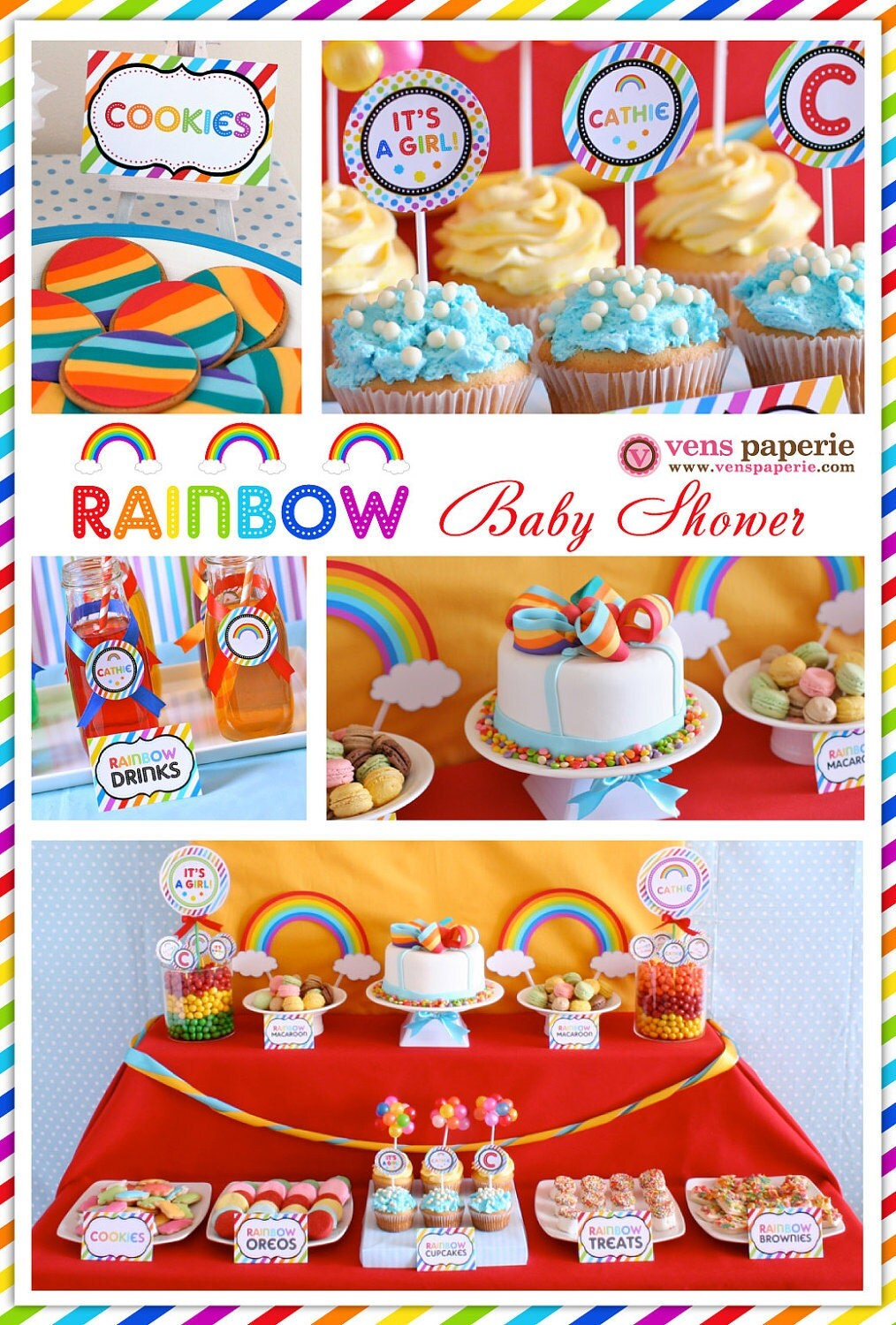 Rainbow Baby Shower Package Personalized Full Collection Set