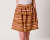 High Waisted Mini Skirt, striped in Ethno Style, high quality fabric partly with silk, One Size
