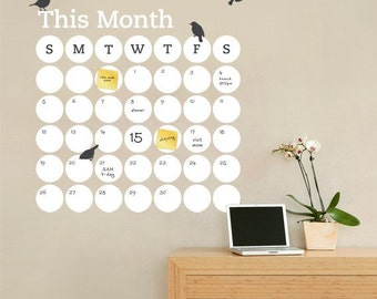 Dry Erase Daily Dot Calendar, Dry Erase Wall Decal, Monthly Planner, Monthly Calendar - by Simple Shapes