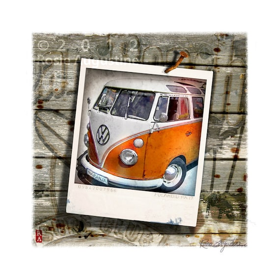 VW Bus Volkswagen Polaroid Beach Orange Art 9x9 Print