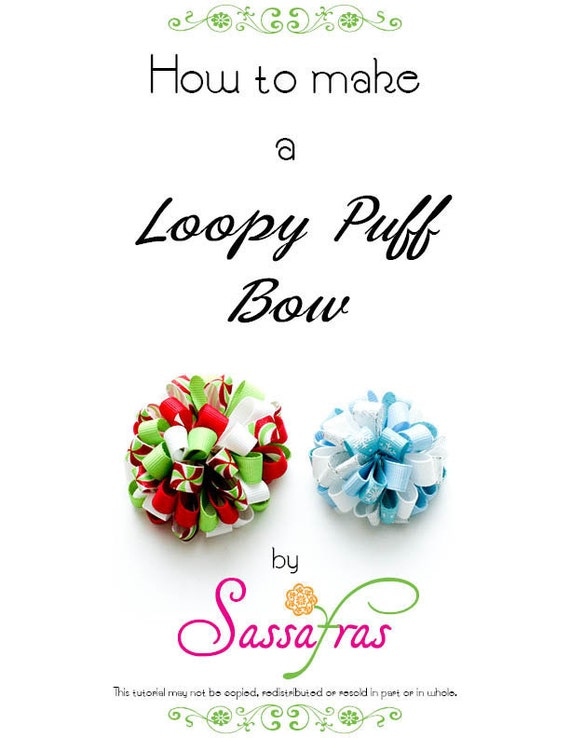 How to make a Loopy Puff Hair Bow Tutorial Two Sizes