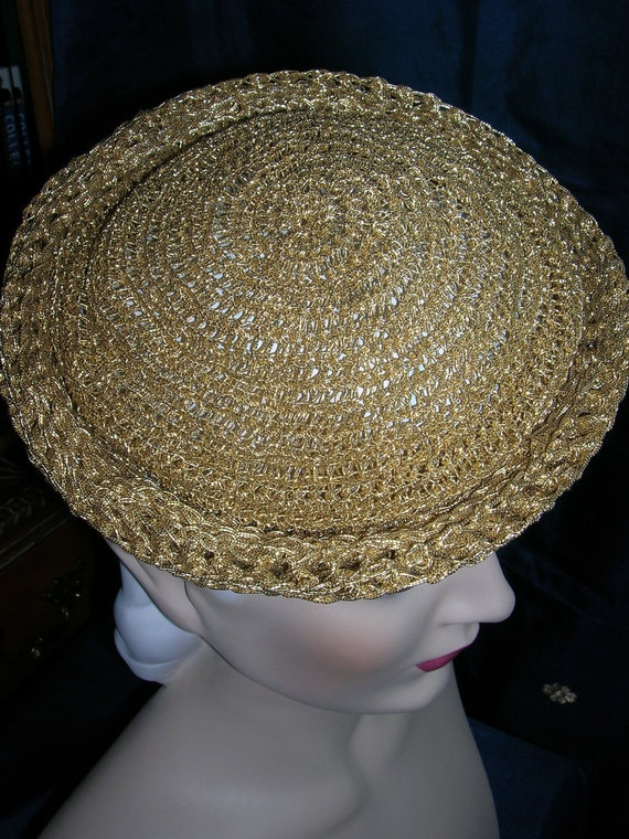 30's Metallic Gold Tilt Hat  . Crocheted Roller Tipster . Festive Holiday Topper .  Classic 1930's Style . Womens Accessory