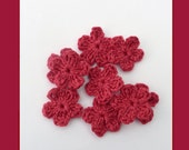 SALE Crochet appliques, 9 small crochet flowers, cardmaking, scrapbooking, appliques, craft embellishments, sewing accessories