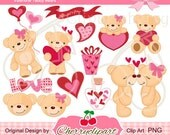 Valentine Teddy Bears Digital Clipart Set for-Personal and Commercial Use-paper crafts,card making,scrapbooking,and web design