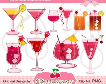 Sweet Drinks and Cocktails Digital Clipart  for-Personal and Commercial Use-paper crafts,card making,scrapbooking,and web design