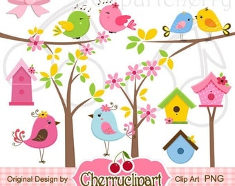Cute Birds and Birdhouses Digital Clipart Set for-Personal and Commercial Use-paper crafts,card making,scrapbooking,web design