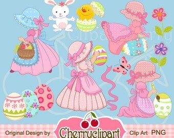 Easter Sunbonnets Digital Clipart Set for -Personal and Commercial Use-paper crafts,card making,scrapbooking,web design