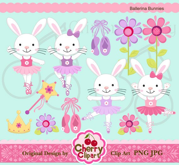 Ballerina Bunnies Digital Clipart Set for-Personal and Commercial Use-paper crafts,card making,scrapbooking,web design