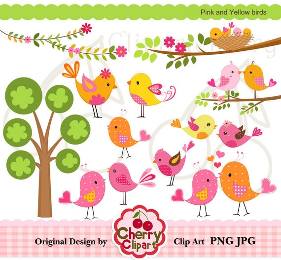 Pink and Yellow birds digital clipart set for-Personal and Commercial Use-Card Design, Scrapbooking, and Web Design