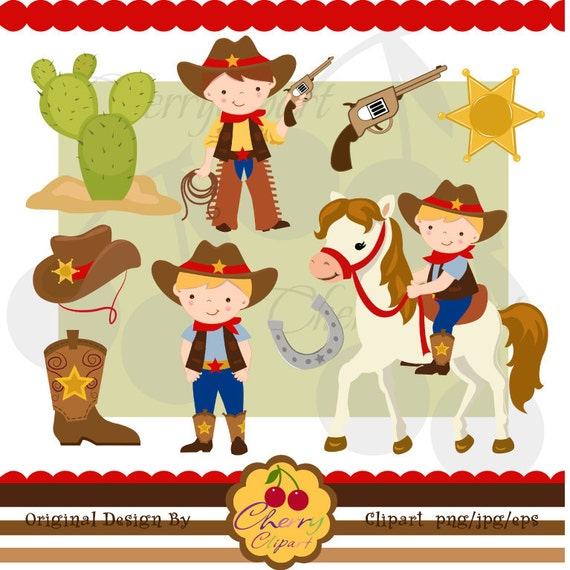 Cute Cowboy Digital Clipart Set for -Personal and Commercial Use-paper crafts,card making,scrapbooking,web design