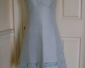 Cute duck-egg blue 60s A-line dress with beaded hem