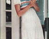 "No.120 PDF Vintage Crochet Pattern Women's Empire Waist Puffed Sleeve Dress - Retro Crochet Pattern - Instant Download - Bust 30.5"" - 38"""
