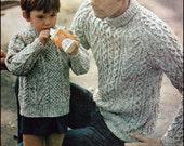 "No.134 PDF Vintage Knitting Pattern Father & Son's Matching Aran Turtlenecks - Instant Download - Chest 36"", 38"", 40"" / Boys 4, 6, 8, 10, 12"