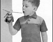 No.152 PDF Vintage Knitting Pattern Boy's Asymmetrical Buttoned T-Shirt - Sizes 2, 3, 4 years - Instant Download