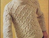 No.219 Vintage Knitting Pattern PDF Men's Diamond Aran Turtleneck Pullover Sweater - Instant Download