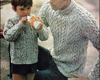"No.134 PDF Vintage Knitting Pattern Father & Son's Matching Aran Turtlenecks - Instant Download - Chest 36"", 38"", 40"" / Boys 4, 6, 8, 10, 12"