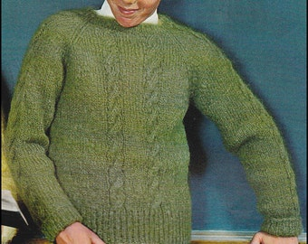 No.145 PDF Vintage Knitting Pattern Boy's Cabled Raglan Pullover Sweater - Sizes 4, 6, 8, 10, 12, 14 Years - Instant Download
