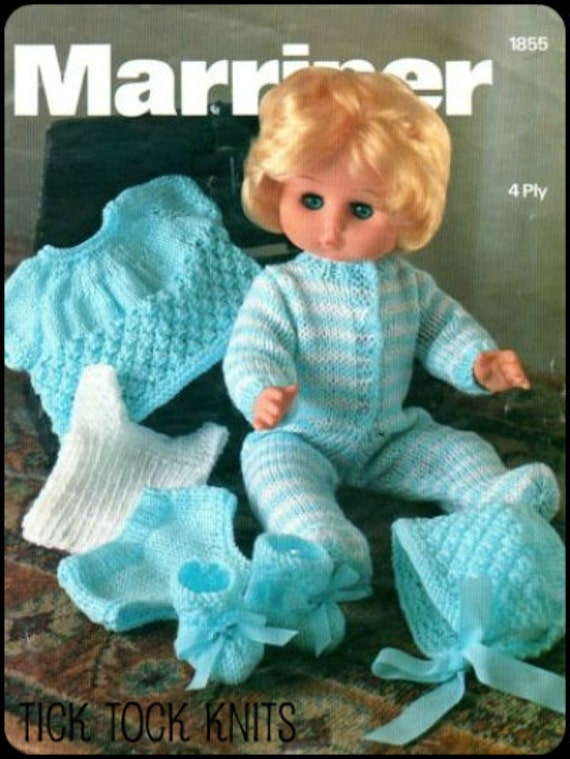 "No.29 PDF Vintage Knitting Pattern For 12"", 14"", 16"", 18"" Dolls - Pajamas, Bonnet, Bootees, Shirt, Vest, Underpants - Instant Download"