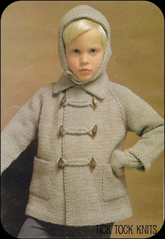 No.51 PDF Vintage Knitting Pattern For Baby's/Child's Toggle Coat, Hat w/ Chin Strap, Mittens - Boy or Girl, Top Down - Instant Download