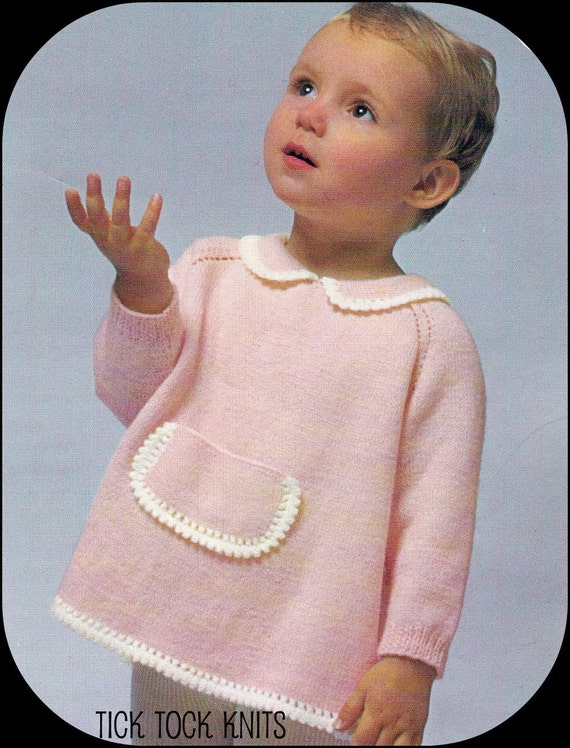 No.65 PDF Vintage Knitting Pattern Baby Girl's Raglan Blouse w/ Peter Pan Collar, Picot Trim 6 Months, 1, 2, 3 Years - Instant Download