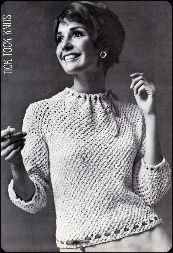 "No.97 PDF Vintage Knitting Pattern For Women - Retro Velvet Ribbons & Lace Blouse - Instant Download - Bust 34"", 36"", 38"", 40"", 42"", 44"""