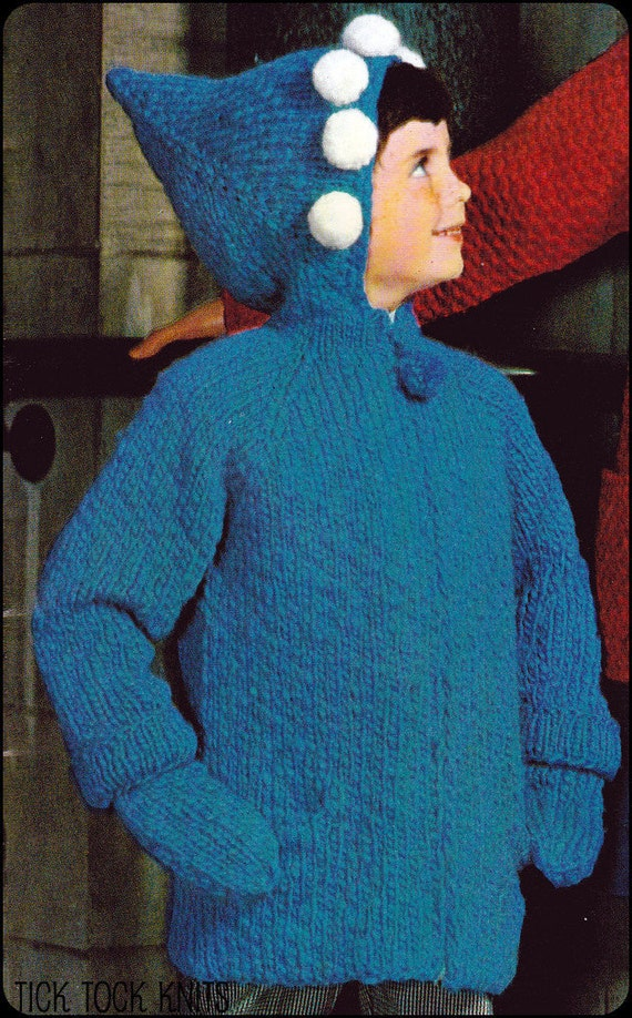 No.150 PDF Vintage Knitting Pattern Child's Pixie Hood Jacket & Mittens - Kids Sizes 6, 8, 10, 12 Years - Instant Download