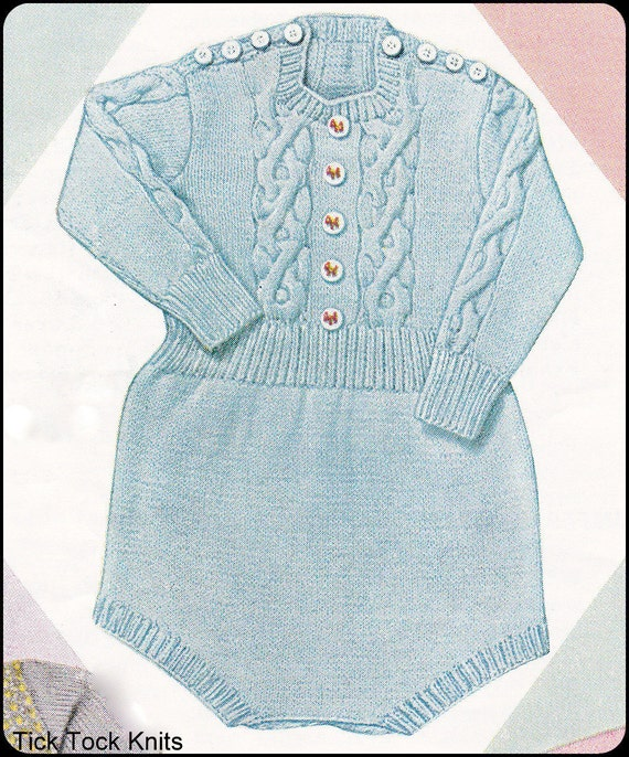 No.125 Baby Knitting Pattern PDF Vintage Baby's Cabled Romper w/ Shoulder Buttons - Size 6 Months to 1 year - Instant Download