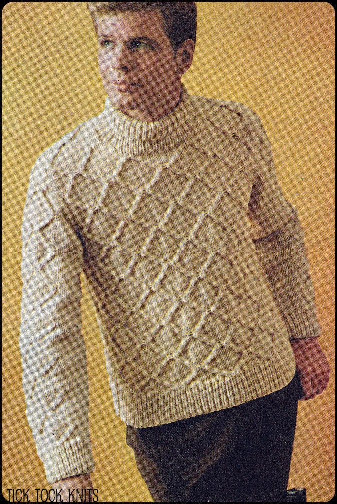 Knitting Patterns For Mens Half Sweaters : No.219 Vintage Knitting Pattern PDF Mens Diamond Aran