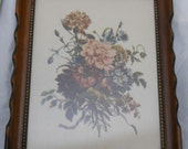 French Country Picture Tessier Florals Flower Bouquet Wall Hanging Print Framed in Beveled Dark Wood Cottage Chic Print / French Provincial