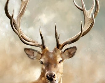 Giclee Print, Photograph, Animal Photography, Deer Photograph, Antlers, 8x10, Tan and Grey, Nature, Masculine, Hunting