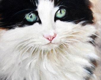 Cat Pet Portrait Tuxedo Cat Print Art Print  8x8 Print Cat Portrait Print