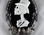 Gothic Victorian Gentleman Skeleton Cameo in silver tone frame - Black Light reactive