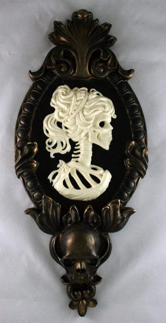 Gothic Victorian Lady Skeleton Cameo bone white in gold tone frame