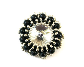 Brooch, Beaded Swarovski Crystal & Black Pearl with Silver Beads, Beaded Statement Brooch